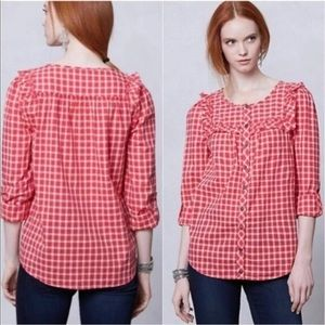 ANTHRO / HOLDING HORSES / PLAID BUTTON DOWN TOP